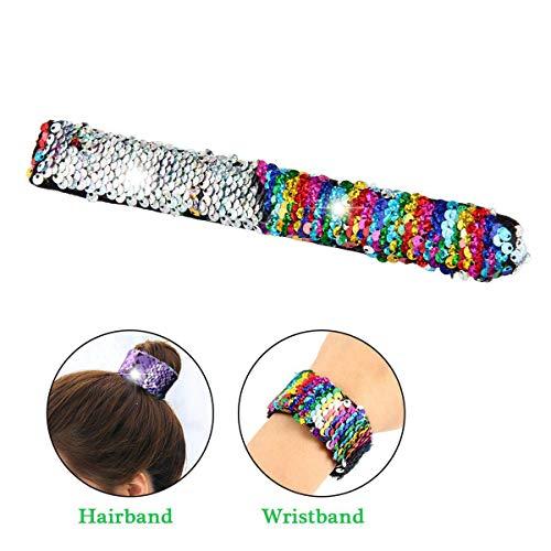(Womdee Damen Slap-Armbänder, Pailletten, Doppelfarben, Meerjungfrauen-Armband, für Kinder-Partys, Geburtstagsgeschenk, Weihnachten, Haarseil 4)