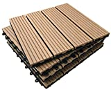 36 x Interlocking Composite Sonnendeck Fliesen - Teak click-deck Terrasse, Garten, Balkon, Hot Tub. 30 cm quadratisch Deck Tile
