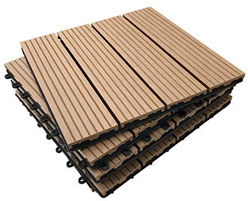 36x Interlocking Composite Sonnendeck Fliesen-Teak click-deck Terrasse, Garten, Balkon, Hot Tub. 30cm quadratisch Deck Tile
