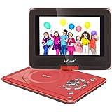 """ieGeek Lecteur DVD Portable 12.5"""" avec Écran Pivotant Compatible Carte SD et USB Chargeur de Voiture et les formats Compatibles avec MP3/ MP4/AVI/RMVB/TXT/JPEG - Rouge"""