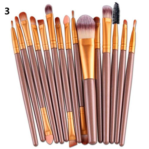 BZLine® Ensemble de pinceaux de maquillage, 15 pcs/Ensembles Eye Shadow Foundation sourcils Brosse à lèvres (Or)