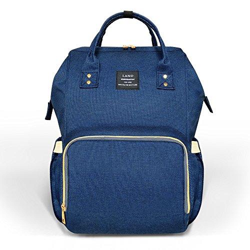 HEYI Baby Wickeltasche Reise Rucksack,Isolierte Tasche, Wasserdicht Stoffe, Multifunktional, Passform für Kinderwage, Große Kapazität Modern Einzigartig Tragbar Handtasche Organizer (Leinen grau) Navy-blau