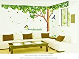 Rainbow Fox Large Pink Sakura Flower Cherry Blossom Tree Wall Sticker Decals PVC Removable Wall Decal for Nursery Girls and Boys (XY1098)