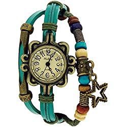Medley Beige Dial Ocean Blue Leather & Cord Beads Watch Pull Closure MED08