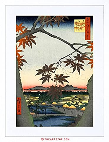 PAINTING JAPANESE WOODBLOCK MAPLE TREE MOUNTAINS FRAMED PRINT F12X4821