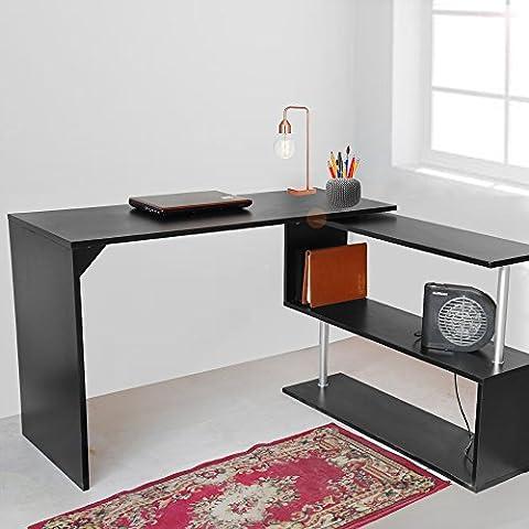 Tuff Concepts Modern Home Office Desk Corner Computer PC Table Worksation (192*50*75 cm, Black)