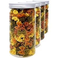D' Luxy Pack 4 Botes de Polietileno Alimentario, 1,5 L (20x10cm), Tarros con Tapa de Aluminio Enroscable. Reciclable. 100 % Libre de BPA.