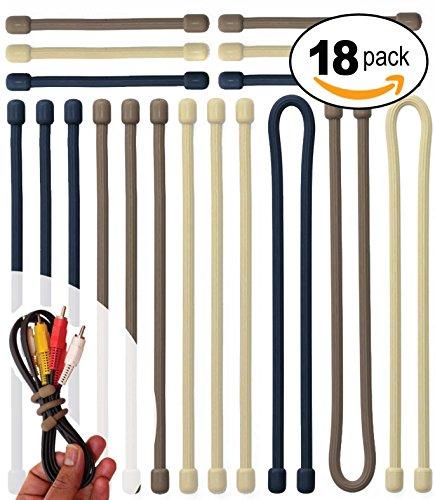 Acrodo Wiederverwendbare biegsame Gummi-Grip-Krawatten - Biegbare Kabelbinder und Schnur-Organizer für den Einsatz zu Hause - Organisieren Sie Ihren Computer, Rucksack und Elektronik - neutrale Farben - Packung mit 18 (Elektronische Kabelbinder)