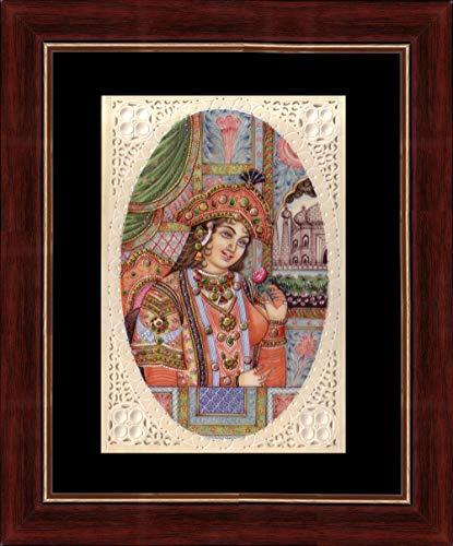 Splendid Indian Art Mughal-Zeitporträt der indischen Miniaturmalerei der Königin Mumtaz Mahal auf Plastik (Synthetisches Elfenbein) mit Rahmen
