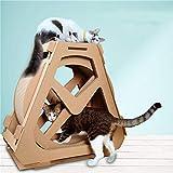 CLX Wellpappe Laufband Riesenrad Haustier Möbel Katze Kratzbrett Greifen Krabbeln Regal Rad Rotation Katzenlaufband, Rollenübung, Well Pappennest, Katzenkralle,Paper