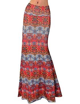 Quge Faldas Mujer Verano Primavera Cintura Alta Bodycon Falda Largas Impresión Floral Casual Básicos