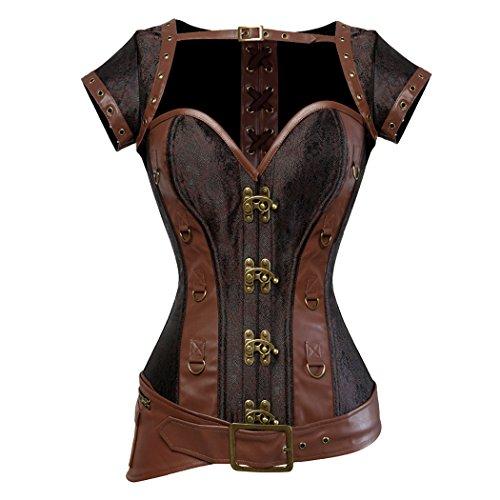 Rosfajiama Cool Warrior diseño de la Mujer Acero Deshuesada Brocado Vintage Steampunk Bustiers corsés Small marrón