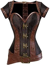 Rosfajiama Cool Warrior diseño de la mujer acero deshuesada brocado Vintage Steampunk Bustiers corsés