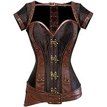 Rosfajiama Cool Warrior diseño de la mujer acero deshuesada brocado Vintage  Steampunk Bustiers corsés 1bb1b9b715657