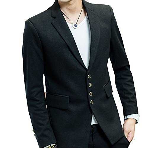 Zhuhaitf Fashion Luxury Mens Formal Business Coats Outerwear Blend Velvet Trim Collar Colthing Black