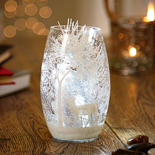 Décoration de Noël Petit vase lumineux à LED avec scène de cerf (31 cm)