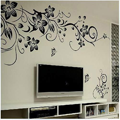 XCJX gemalt schwarzer Schmetterling Diagonale Blume Rebe Wohnzimmer TV Hintergrund Dekoration entfernbarer Wandaufkleber Diagonale Tv