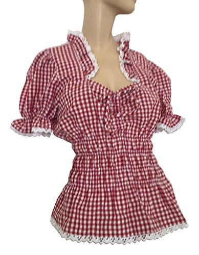 Blusen Trachtenblusen Rot Weiß Karo Damen Baumwollmischung Freizeit Festlich (36)