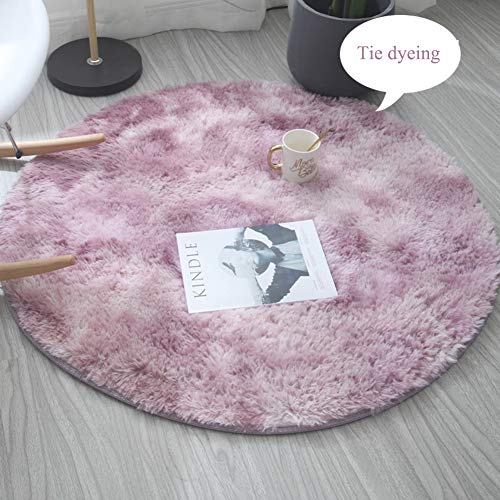 ZMIN Runde Plüsch Shaggy Teppich, Weicher Hochflor Teppiche Fluffy Krawatte Färben Teppich Für Wohnzimmer Schlafzimmer Kid Play Teppich Stock Pad-lila Durchmesser200cm(79inch) -