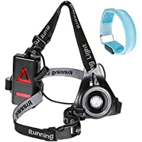 Rechargeable Running Light Nabance Chest Torch LED Waterproof Running Light and Flashing Armband Light –Rechargeable Adjustable Strap Chest Torch Running Light with 3 Modes Night Running Safety Light for Night Outdoor Activities( USB Cable Included)