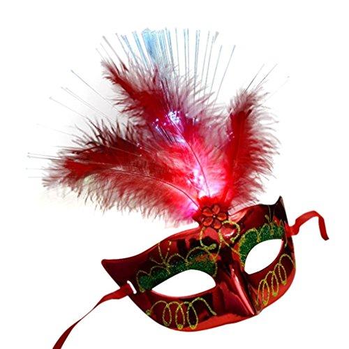 (Partei-Maskerade Venetian LED Fiber Optic Lighting Mask Roesnnie Damen Maske Costume Fancy Prinzessin Maske Feather Masks Mädchen Karneval Kostüm Venezianische Maske Damenmaske Halbmaske (Rot))