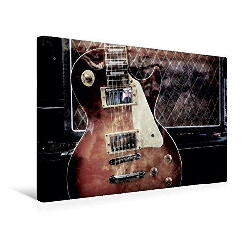 Premium Textil-Leinwand 45 cm x 30 cm quer, Blues Rock | Wandbild, Bild auf Keilrahmen, Fertigbild auf echter Leinwand, Leinwanddruck: Les Paul Style vor Gitarrencombo (CALVENDO Kunst)