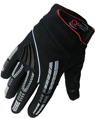 Qtech - Kinder Motocross-Handschuhe - Schwarz - XS (ca. 10-12 (Kind Schwarz Handschuhe)