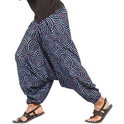 The Harem Studio Hombre Mujer Pantalones harem unisex bombachos ligeros, hippies, de algodón, casuales, boho, hechos a mano para Yoga - Estilo Spiral (Azul)