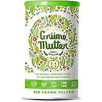 Grüne Mutter–La fórmula original de superalimentos con hierba de trigo, ortiga, cardo mariano, algas marrones, alfalfa, col crespa, moringa entre otros, todos en calidad de crudo–600gramos de polvo energético