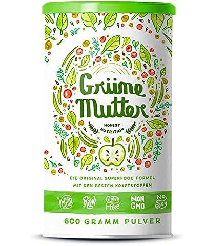 Green Mother - Poudre pour Smoothie Brut Vert Organique avec Micronutriments des 30 Super aliments et des Herbes Médicinales - 600 Grammes
