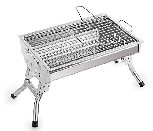 Cowekai Barbecue a Carbonella Pieghevole 14 Pollici Portatile BBQ Grill dell'Acciaio Inox per Camping e Picnic, Argento