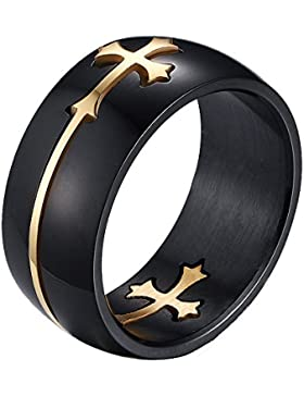 Heyrock Separable Cross Ring for Men Women Black Color Stainless Steel Cool Male Design Jewelry