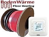 Kabelset für elektrische Fußbodenheizung von BodenWärme, loser Draht, in vielen Größen erhältlich,150w/m², Fliesen-Heizung, mit Touchscreen