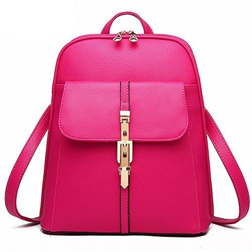 Estwell Impermeabile Pu In Pelle Zaino Casual Daypack Borsa Da Viaggio Scuola Borsa Per Le Donne Ragazza Rosa Rossa