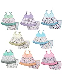 Kurtzy Baby Girl's Cotton Cute Printed Frock with Nappies (Multicolour, 0-6 Months) - Set of 8
