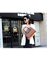 X&L Bolso de cuero cocodrilo moda bolso del Mensajero de las mujeres , light brown