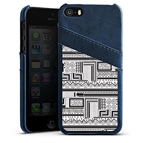 Apple iPhone 5s Housse Outdoor Étui militaire Coque Style ethnique Style ethnique Abstrait Étui en cuir bleu marine
