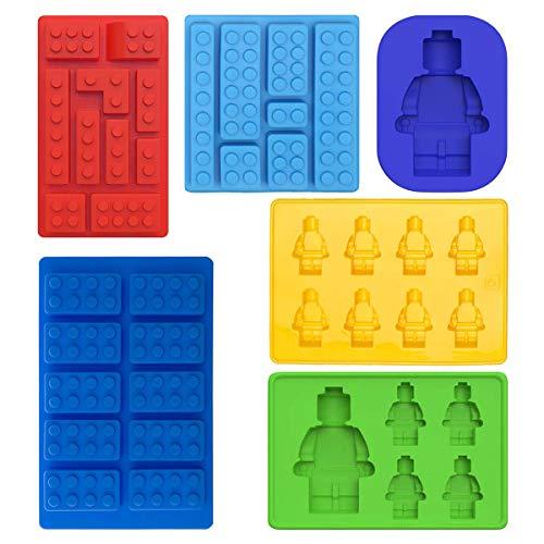 Roboter Eiswürfelbereiter und Pralinenformen Silikon-Formen für Eiswürfel, Süßigkeiten, Schokolade, für Kinder-Partys etc., Silikon 6-Teiliges Set Grundbausteine, Bauspaß Mit Kindern Ziegelstein Block