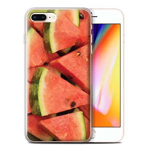 Stuff4 Gel TPU Hülle / Case für Apple iPhone 8 Plus / Himbeere Muster / Saftige Frucht Kollektion Melone
