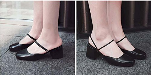 Onfly Donne Moda Pelle Pantofole Muller Sandali Tacco medio Pompe Mary Janes scarpe Black
