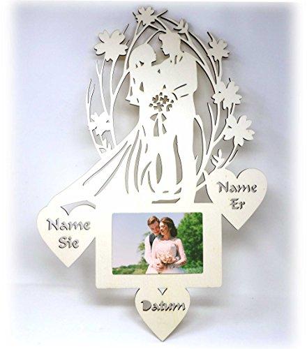Hochzeitsgeschenke Bilderrahmen mit Namen I Geschenk zur Hochzeit I Optional mit Farbe