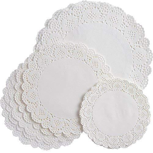 Bememo 108 Stück Weiße Runde Papier Deckchen Spitze Deckchen Kuchen Verpackung Papier Pad für Party Hochzeit Dekorationen, 3 Größen