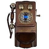Teléfono Antiguo Teléfono Antiguo de Pared de Estilo Europeo Teléfono Antiguo de Madera Maciza Teléfono Fijo Teléfono de Pared Creativo de la Vendimia,D
