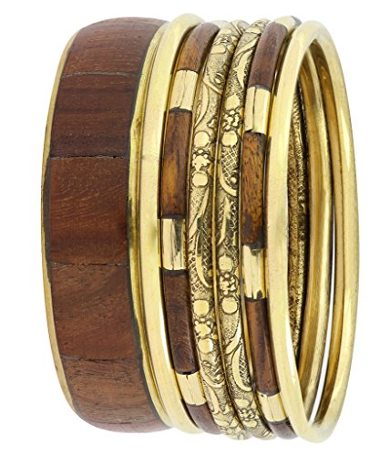 The Jewelbox Handmade Trendy Stylish Brown Wood Bangle Set Bangles For Women