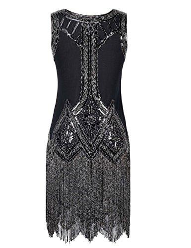 Kayamiya Damen Retro Inspiriert 1920er Paillette Perlen Art Deco Franse Flapper Kleid Herrlich Schwarz