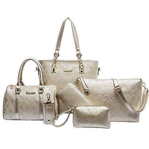 Goodpro Women Bags Women Handbags PU Leather Vintage 6 Pcs Set Bags Purses Shoulder Bags Clutch GPG090