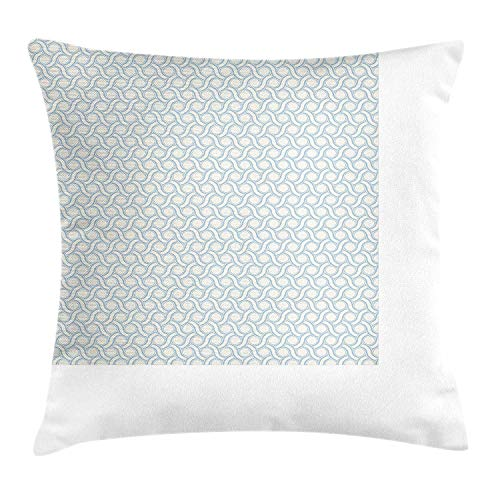 Cupsbags Ivory and Blue Throw Pillow Cushion Cover, Circles and Stripes in Pastel Colors Abstract Geometric Arrangement, Decorative Square Accent Pillow Case, Bluegrey and Ivory20