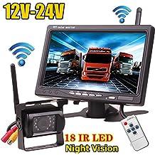 "12V-24V Wireless 18LEDs IR visión nocturna impermeable cámara de visión trasera de copia de seguridad de marcha atrás sistema + 7""monitor TFT LCD HD coche para Bus camión remolque"