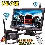 Ensemble pour système de caméra de recul sans fil pour voiture - 12 à 24 volts - 18 LED à infrarouge pour la vision nocturne - Ecran couleur LCD 7' sans fil