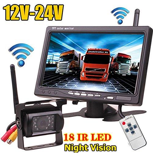 12V-24V Wireless 18LEDs IR visión nocturna impermeable cámara de visión trasera de...